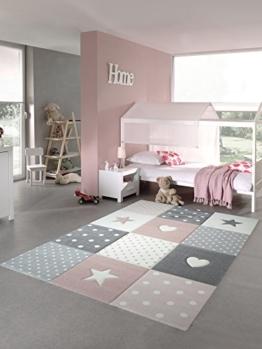 Kinderteppich Spielteppich Teppich Kinderzimmer Babyteppich mit Herz Stern in Rosa Weiss Grau Größe 80x150 cm - 1