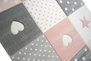Kinderteppich Spielteppich Teppich Kinderzimmer Babyteppich mit Herz Stern in Rosa Weiss Grau Größe 80x150 cm - 4