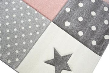 Kinderteppich Spielteppich Teppich Kinderzimmer Babyteppich mit Herz Stern in Rosa Weiss Grau Größe 80x150 cm - 5