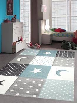 Kinderteppich Teppich Kinderzimmer Babyteppich Stern Mond in Blau Türkis Grau Creme Größe 120x170 cm - 1