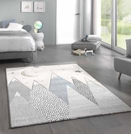Kinderteppich Teppich Kinderzimmer mit Bergen in Pastel Blau Grau Größe 160x230 cm - 1