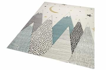 Kinderteppich Teppich Kinderzimmer mit Bergen in Pastel Blau Grau Größe 160x230 cm - 2