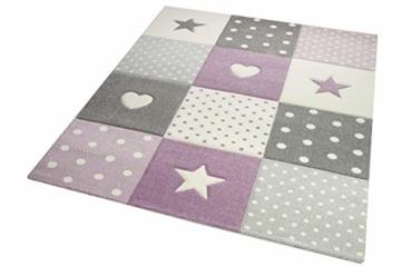 Kinderteppich Teppich Kinderzimmer mit Stern Herz in Lila Grau Creme Größe 140x200 cm - 3