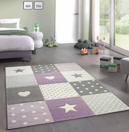 Kinderteppich Teppich Kinderzimmer mit Stern Herz in Lila Grau Creme Größe 140x200 cm - 1