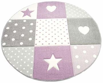 Kinderteppich Teppich Kinderzimmer mit Stern Herz in Lila Grau Creme Größe 140x200 cm - 4