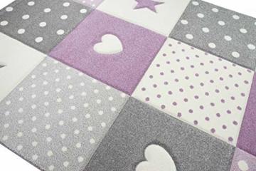 Kinderteppich Teppich Kinderzimmer mit Stern Herz in Lila Grau Creme Größe 140x200 cm - 5