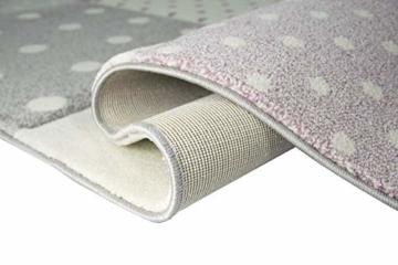 Kinderteppich Teppich Kinderzimmer mit Stern Herz in Lila Grau Creme Größe 140x200 cm - 7