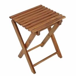 Klapphocker TACOMA Eukalyptus geölt Holz Beistelltisch Klapptisch Hocker Gartentisch NEU - 1