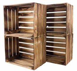 Kontorei® geflammte/braune Apfelkisten 50cm x 40cm x 30cm 4er Set Holzkisten Weinkisten Obstkiste Kiste Box - 1