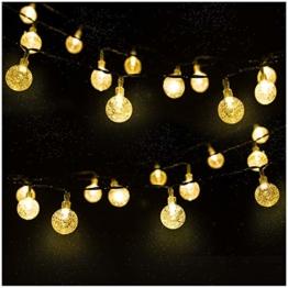 LED Solar Lichterkette Kristall Kugeln 4.5 Meter 30er Warmweiß, Mr.Twinklelight Außerlichterkette Deko für Garten, Bäume, Terrasse, Weihnachten, Hochzeiten, Partys, Innen und außen - 1