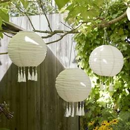 Lights4fun 3x LED Solar Lampions mit Fransen Solarbetrieb 35cm - 1