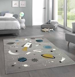 Merinos Kinderteppich Weltraum Lernteppich mit Raumschiff Sternen und Planeten in Grau Größe 120x170 cm - 1