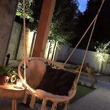 Mertonzo Hängesitz & Hängesessel, Gestrickt von Baumwollseil mit romantischen Fransen Hängematte Swing Sessel für Drinnen/Draußen 120KG Kapazität (Hängemattenhalter und Kissen sind Nicht Enthalten) - 3