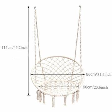 Mertonzo Hängesitz & Hängesessel, Gestrickt von Baumwollseil mit romantischen Fransen Hängematte Swing Sessel für Drinnen/Draußen 120KG Kapazität (Hängemattenhalter und Kissen sind Nicht Enthalten) - 4