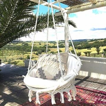 Mertonzo Hängesitz & Hängesessel, Gestrickt von Baumwollseil mit romantischen Fransen Hängematte Swing Sessel für Drinnen/Draußen 120KG Kapazität (Hängemattenhalter und Kissen sind Nicht Enthalten) - 1