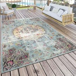 Paco Home In- & Outdoor Teppich Modern Orient Print Terrassen Teppich Wetterfest Türkis, Grösse:120x170 cm - 1