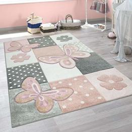 Paco Home Kinder Teppich Kinderzimmer Bunt Rosa Schmetterlinge Karo Muster Punkte Blumen, Grösse:120x170 cm - 1