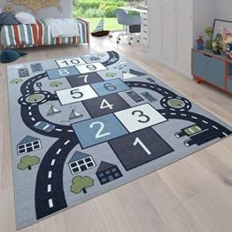 Paco Home Kinder-Teppich, Spiel-Teppich Für Kinderzimmer, Hüpfkästchen und Straßen, Grau, Grösse:160x220 cm - 1