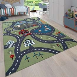 Paco Home Kinder-Teppich, Spiel-Teppich Für Kinderzimmer, Mit Straßen-Motiv, In Grün, Grösse:100x200 cm - 1