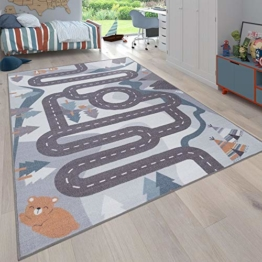 Paco Home Kinder-Teppich, Spiel-Teppich Für Kinderzimmer Straßen-Motiv Mit Tieren Creme, Grösse:80x150 cm - 1
