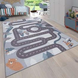 Paco Home Kinder-Teppich, Spiel-Teppich Für Kinderzimmer Straßen-Motiv Mit Tieren Creme, Grösse:160x220 cm - 1