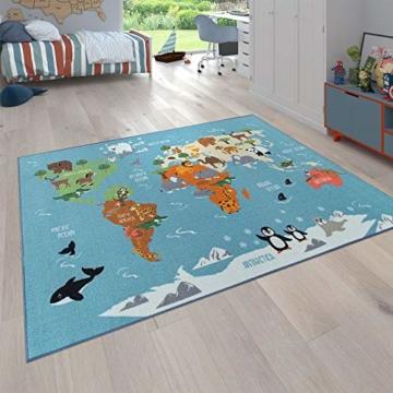 Paco Home Kinder-Teppich, Spiel-Teppich Für Kinderzimmer, Weltkarte Mit Tieren, In Grün, Grösse:160x220 cm - 1