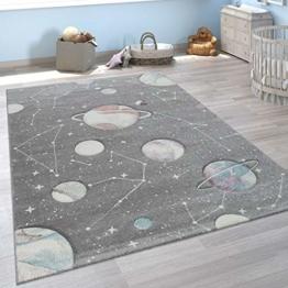 Paco Home Kinder-Teppich, Spiel-Teppich Mit Planeten Und Sternen, Für Kinderzimmer In Grau, Grösse:140x200 cm - 1