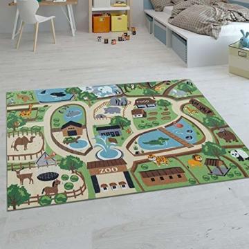 Paco Home Kinder-Teppiche, Kurzflor-Teppiche für Kinderzimmer mit vers. Designs Spielteppiche Bunt, Grösse:160x220 cm, Farbe:Beige - 1