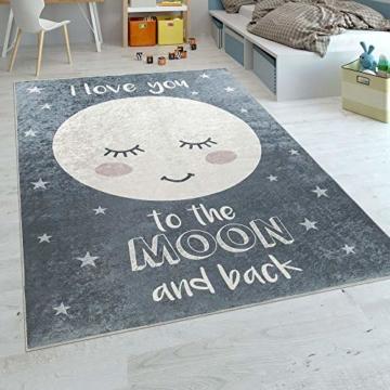 Paco Home Kinderteppich Kinderzimmer Mädchen Waschbar Sterne Niedlicher Mond Spruch Grau, Grösse:140x200 cm - 1