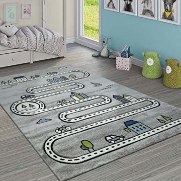 Paco Home Kinderteppich Kinderzimmer Modern Lernteppich Straße Auto Haus Design In Grau, Grösse:120x170 cm - 1