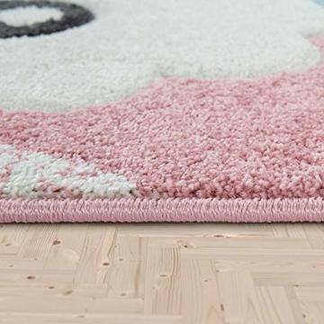 Paco Home Kinderteppich Kinderzimmer Moderne Pastell Farben, Niedliche Motive, 3D Effekt, Grösse:140x200 cm, Farbe:Grau - 4