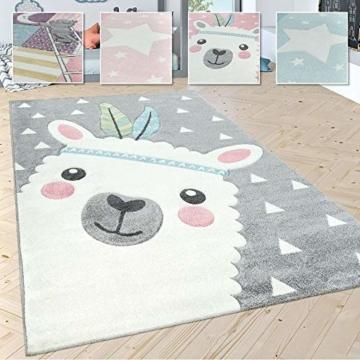 Paco Home Kinderteppich Kinderzimmer Moderne Pastell Farben, Niedliche Motive, 3D Effekt, Grösse:140x200 cm, Farbe:Grau - 1