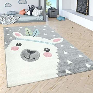 Paco Home Kinderteppich Kinderzimmer Moderne Pastell Farben, Niedliche Motive, 3D Effekt, Grösse:140x200 cm, Farbe:Grau - 5