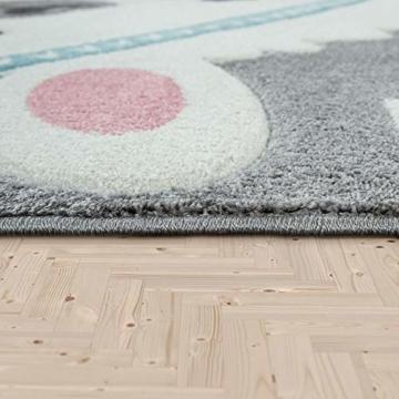 Paco Home Kinderteppich Kinderzimmer Moderne Pastell Farben, Niedliche Motive, 3D Effekt, Grösse:140x200 cm, Farbe:Grau - 6