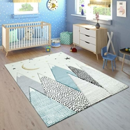 Paco Home Kinderteppich Kinderzimmer Pastell Blau Grau Berg Mond Sterne Strapazierfähig, Grösse:120x170 cm - 1