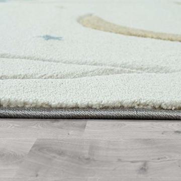 Paco Home Kinderteppich, Kinderzimmer Pastell Teppich mit 3D Wolken u. Stern Motiven, Grösse:80x150 cm, Farbe:Creme - 2