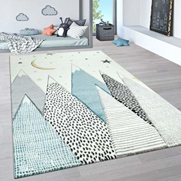 Paco Home Kinderteppich, Kinderzimmer Pastell Teppich mit 3D Wolken u. Stern Motiven, Grösse:80x150 cm, Farbe:Creme - 1