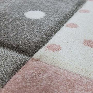 Paco Home Kinderteppich Kinderzimmer Punkte Herzen Sterne Pastell versch. Farben u. Größen, Grösse:80x150 cm, Farbe:Pink - 3