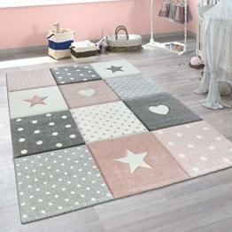 Paco Home Kinderteppich Kinderzimmer Punkte Herzen Sterne Pastell versch. Farben u. Größen, Grösse:80x150 cm, Farbe:Pink - 1