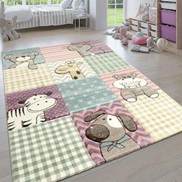 Paco Home Kinderteppich, Moderner Kinderzimmer Pastell Teppich, Niedliche 3D Tiermotive, Grösse:80x150 cm, Farbe:Mehrfarbig - 1