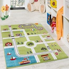 Paco Home Kinderteppich Spielteppich City Hafen Straßenteppich Stadt Straße Grau Grün, Grösse:160x220 cm - 1