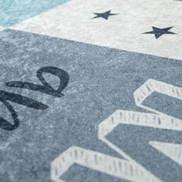 Paco Home Kinderteppich, Waschbarer Kinderzimmer Teppich m. Stern, Mond u. Karo Motiven, Grösse:80x150 cm, Farbe:Türkis - 2