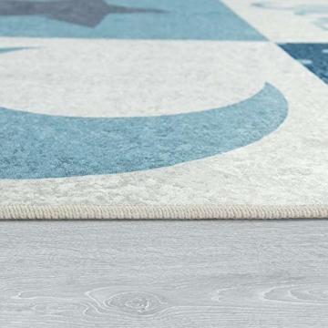 Paco Home Kinderteppich, Waschbarer Kinderzimmer Teppich m. Stern, Mond u. Karo Motiven, Grösse:80x150 cm, Farbe:Türkis - 3