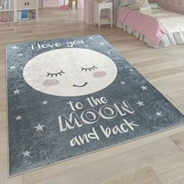 Paco Home Kinderteppich, Waschbarer Kinderzimmer Teppich m. Stern, Mond u. Karo Motiven, Grösse:80x150 cm, Farbe:Grau 2 - 1