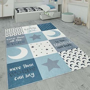 Paco Home Kinderteppich, Waschbarer Kinderzimmer Teppich m. Stern, Mond u. Karo Motiven, Grösse:80x150 cm, Farbe:Türkis - 1