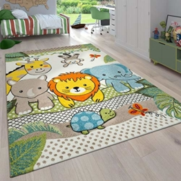 Paco Home Kinderzimmer Kinderteppich für Jungen mit Tier u. Dschungel Motiven Kurzflor, Grösse:140x200 cm, Farbe:Grün 2 - 1