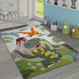Paco Home Kinderzimmer Teppich Grün Dinosaurier Dschungel Vulkan 3-D Effekt Kurzflor, Grösse:140x200 cm - 1