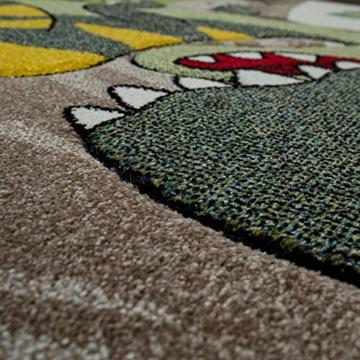 Paco Home Kinderzimmer Teppich Grün Dinosaurier Dschungel Vulkan 3-D Effekt Kurzflor, Grösse:140x200 cm - 4