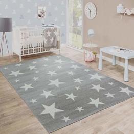 Paco Home Moderner Kurzflor Kinderteppich Sternendesign Kinderzimmer Star Muster Grau Weiß, Grösse:80x150 cm - 1