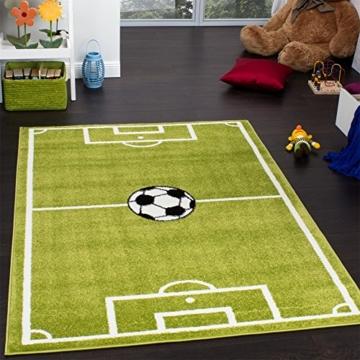 Paco Home Teppich Kinderzimmer Fußball Spielteppich Kinderteppich Fußballplatz Grün, Grösse:160x220 cm - 2